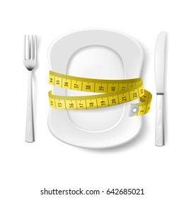 Plate with Knife, Fork and Measure Tape. Illustration on White