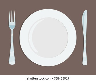 Plate knife and forkon. Flat style. Stock vector