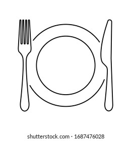 Plate, knife, spoon and fork line icon. Vector illustration