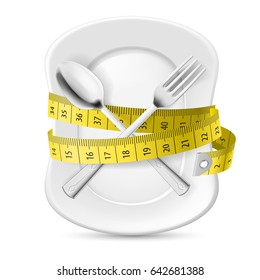 Plate with Measuring Tape and Crossed Fork and Spoon. Illustration on White