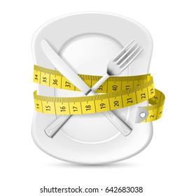 Plate with Measuring Tape and Crossed Fork and Knife. Illustration on White