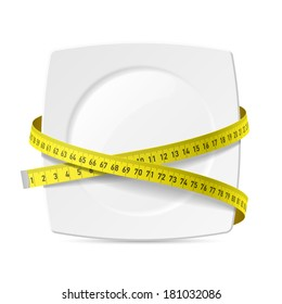 Plate with measuring tape - diet theme. Vector.