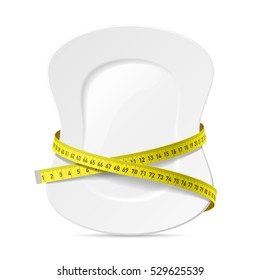 Plate with measuring tape, diet theme. Vector illustration.