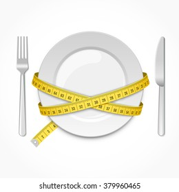 Plate with measuring tape, fork and knife. Conceptual illustration
