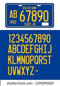 Plate number font vector mockup