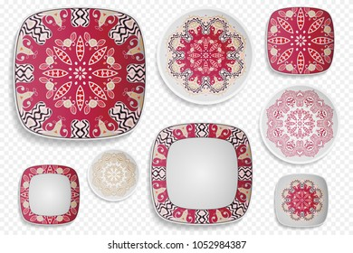 Plate ornament, top view. Home decor collection. Isolated dish, saucer with hand drawn ethnic mandala pattern. Editable objects, mock up set