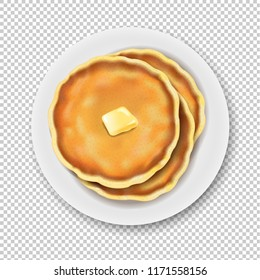 Plate With Pancake Isolated Transparent Background With Gradient Mesh, Vector Illustration
