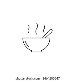 Plate with soup, bowl, meal icon outline style