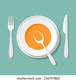 a plate of soup, tableware knife fork spoon - good appetite