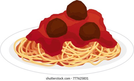 Plate of Spaghetti with Tomato Sauce and Meatballs