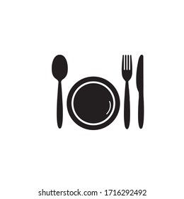 plate, spoon, fork and knife on white background. Vector illustration