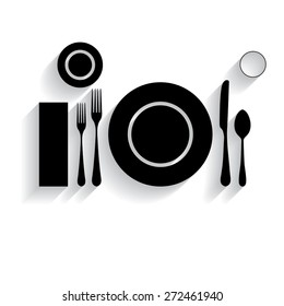 plate with spoon, knife and fork with shadow