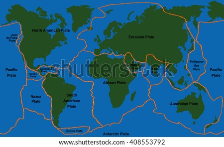 Plate Tectonics World Map Fault Lines Stock Vector (Royalty Free ...