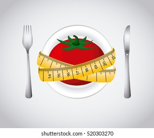 plate with tomato and yellow measurement tape and fork and knife over white background .healthy food for dieting. colorful design. vector illustration
