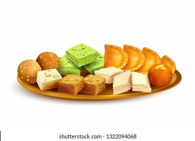 Plate with traditional Indian sweets – laddu, gulab jamun, gujiya, halwa, barfi. Isolated on white. Vector illustration.