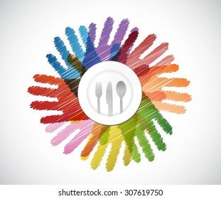 plate and utensils over a color hands diversity concept. illustration design