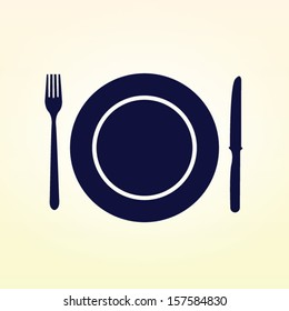 Plate,fork and knife vector illustration