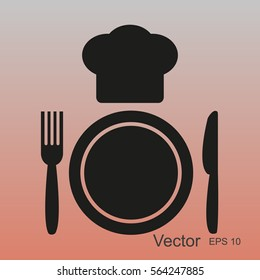 Plate,fork , knife,chef hat  icon