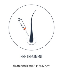 Platelet rich plasma design template with a syringe and a follicle symbols for hair loss treatment.  PRP stem cells regenerative medicine and beauty concept. Vector illustration in line style.