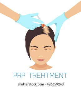 Platelet rich plasma injection procedure. PRP therapy process. Female baldness treatment infographics. Meso therapy and hair growth stimulation. Vector illustration.