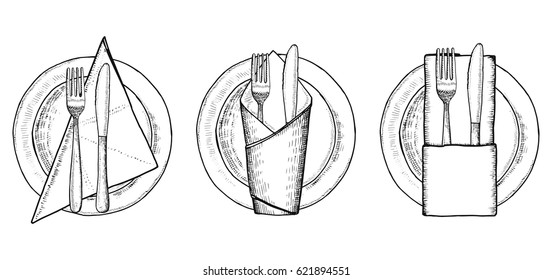 Plates with cutlery on napkins. Hand drawing vector illustration