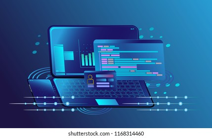 Platform with digital new concept business. Web development and coding. Platform development website. Adaptive layout internet page or web interface on screen. Isometric concept illustration.