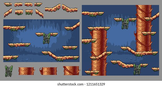 platform forest tree game pixel art graphics kit, video game vector illustration