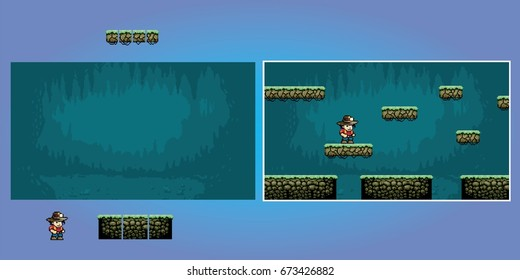 platform game pixel art graphics kit, video retro game vector illustration