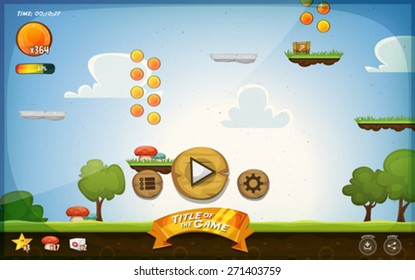 Platform Game User Interface For Tablet/ Illustration of a funny graphic cartoon platform game user interface design,with buttons, icons, status bar, seamless grass and spring landscape, for tablet pc