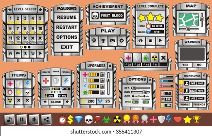 Platform Game User Interface For Tablet/ Illustration of a platform game user interface, in cartoon style with background and basic buttons for creating game and application
