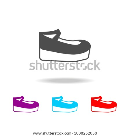 aa7a69523a Platform heels shoes Icon. Elements of clothes in multi colored icons for  mobile concept and