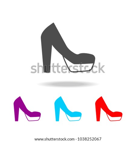 dc724114f7 Platform high heels shoes icon. Elements of clothes in multi colored icons  for mobile concept