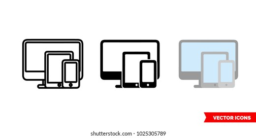 Platform icon of 3 types: color, black and white, outline. Isolated vector sign symbol.