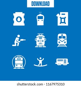 platform icon. 9 platform vector set. train wagon, drill, train icon and oil icons for web and design about platform theme