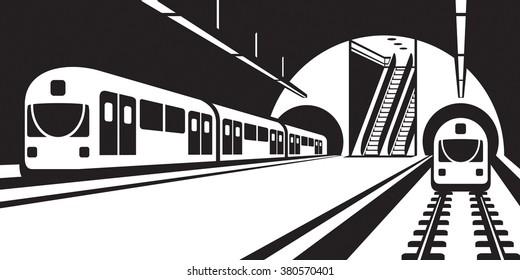 Platform of subway station with trains - vector illustration