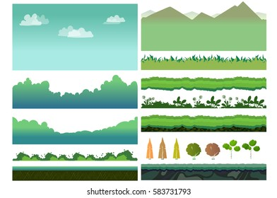 Platformer Game Assets,Set of game elements. Elements for mobile game, 2d game application. Vector Illustration for your project
