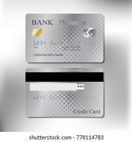 platinum color front and back realistic credit cards set with vector illustration design eps10