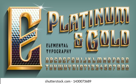 Platinum and Gold is an ornate alphabet with metallic effects of precious metals.