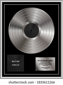 Platinum gramma disc limited edition. Platinum or Silver Vinyl or CD Prize Award with Label in Black and silver Frame. Vector Illustration.