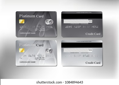 platinum and grey color curve blending line realistic credit card set for business and banking with vector illustration design eps 10