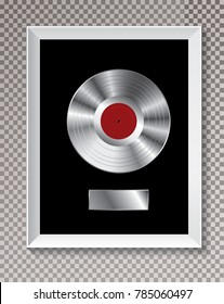 platinum LP record in white frame, vector editable illustration with transparent shadow