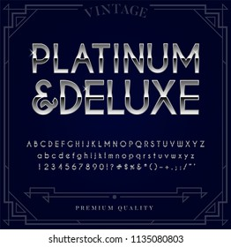 Platinum, Silver or Chrome Metallic Font Set. Letters, Numbers and Special Characters in Vector