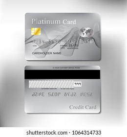 platinum or silver color wave graphic design realistic credit card set for business and banking with vector illustration design eps 10