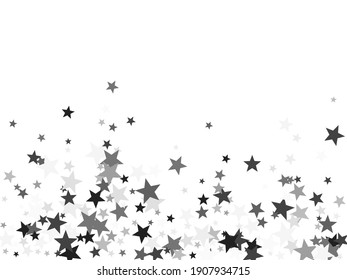 Platinum stars confetti pretty holiday vector background. Small dazzle star sparkles magical illustration. Black abstract party decoration elements on white.