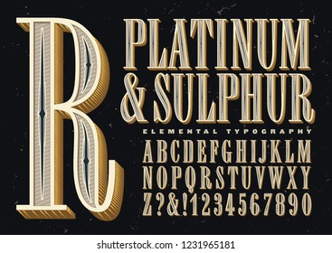 Platinum & sulphur is an original old-style antique font. This vintage style alphabet has embellished inlays and 3d effects.