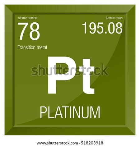 Platinum Symbol Element Number 78 Periodic Stock Vector Royalty