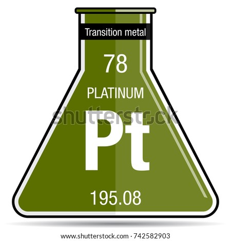 Platinum Symbol On Chemical Flask Element Stock Vector Royalty Free