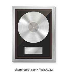 Platinum vinyl in frame on wall, Collection disc, template design element, Vector illustration