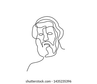 Plato continuous one line drawing minimalist design with minimalism style vector illustration ancient pholisopher figure symbol