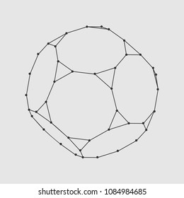 Platonic solid design. Connected lines with dots.